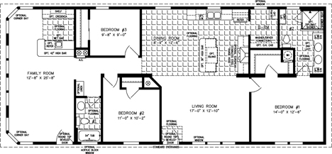Manufactured Home Floor Plan: The Imperial • Model IMP-4623B-525  3 Bedrooms, 2 Baths