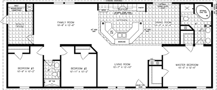 Manufactured Home Floor Plan: The Imperial | Model IMP-46411B  3 Bedrooms, 2 Baths
