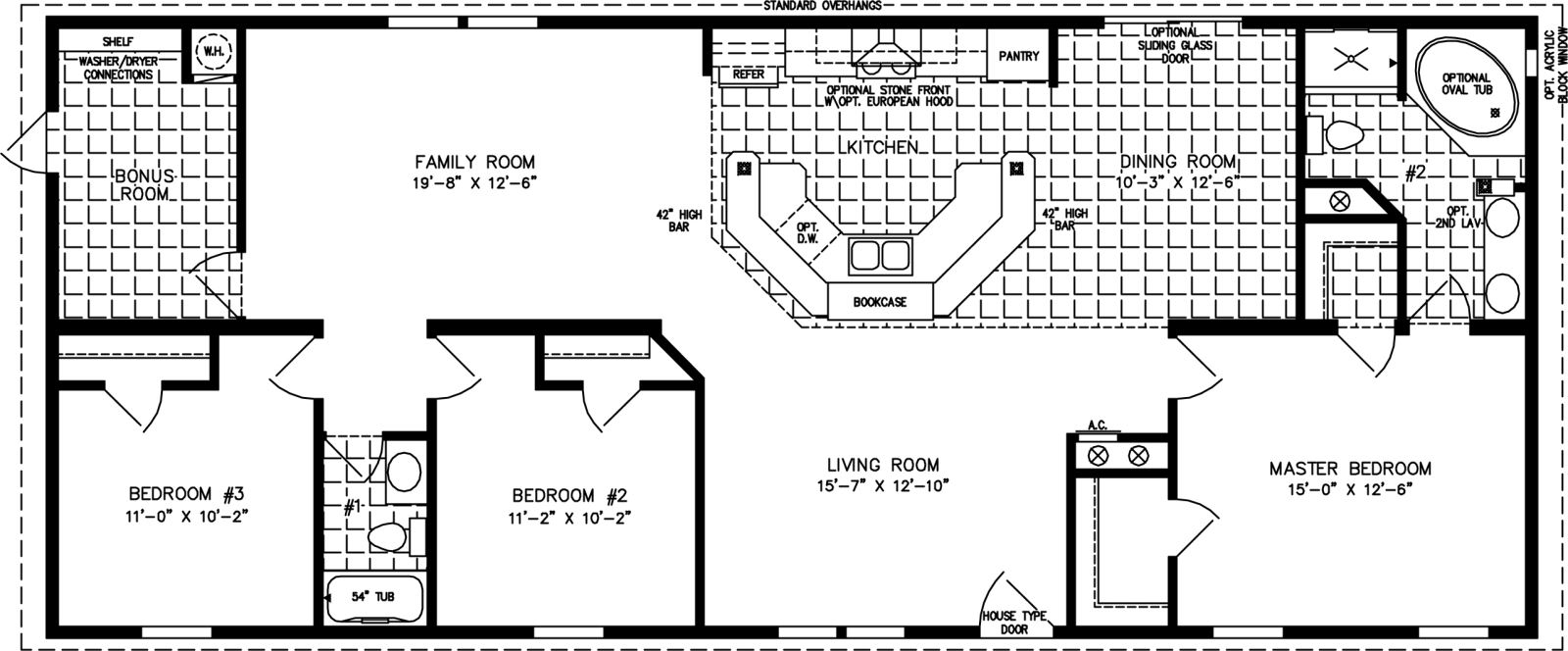 Manufactured Home Floor Plan: The Imperial • Model IMP-46411B  3 Bedrooms, 2 Baths