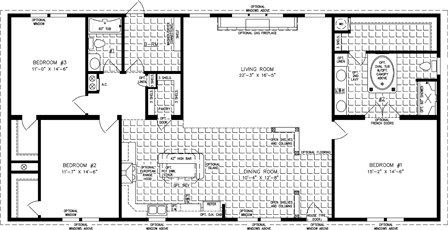 Manufactured Home  Floor Plan: The Imperial | Model IMP-46413W  3 Bedrooms, 2 Baths