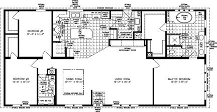 Manufactured Home  Floor Plan: The Imperial | Model IMP-46414W  3 Bedrooms, 2 Baths