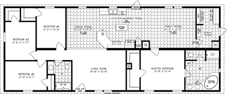 Manufactured Home Floor Plan: The Imperial | Model IMP-46819B  4 Bedrooms, 2 Baths