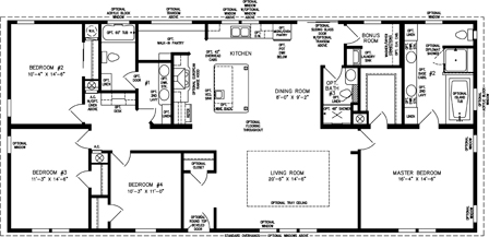 2085 sq ft and up manufactured home floor plan for 2000 square foot mobile home