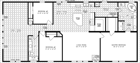 Manufactured Home Floor Plan: The Imperial | Model IMP-46822W  3 Bedrooms, 2 Baths