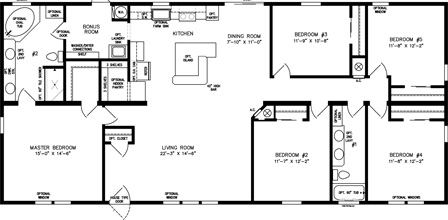 Five Bedroom Two Bath Floor Plan with open Kitchen
