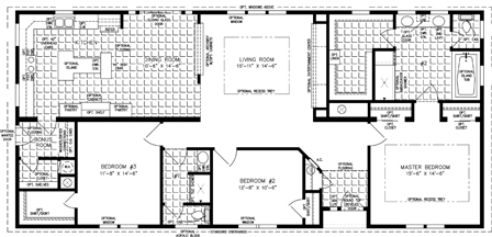 Manufactured Home Floor Plan: The Imperial | Model IMP-5661W  3 Bedrooms, 2 Baths