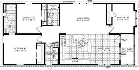 Manufactured Home Floor Plan: The Imperial | Model IMP-6502B  3 Bedrooms, 2 Baths