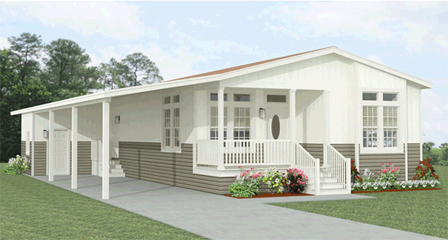 Exterior Jacobsen Homes manufactured home with a front entry porch and carport