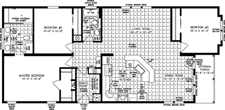 Three bedroom two bath floor plan with front porch