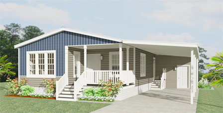 Rendering of a Jacobsen Home with carport and entry porch