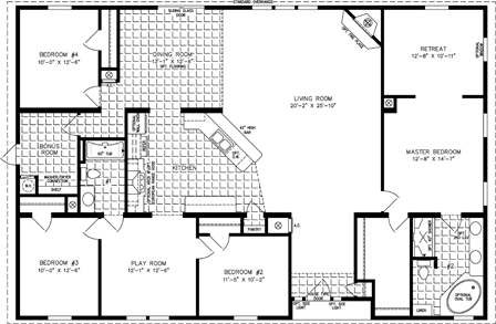 Manufactured Home Floor Plan: The Imperial | Model IMP-7604  4 Bedrooms, 2 Baths