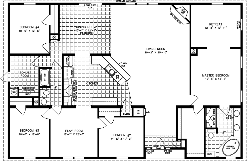 2000 sq ft and up manufactured home floor plans for 5 bedroom house plans under 2000 square feet