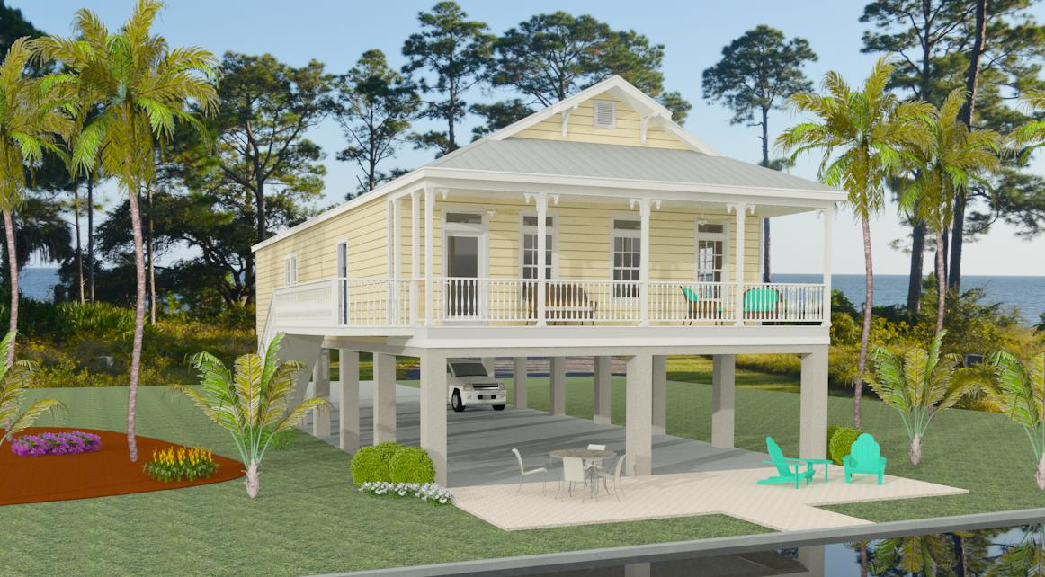 Exterior view Jacobsen Homes manufactured home raised on stilts with porch