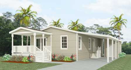 Rendering 2 bedroom home with carport