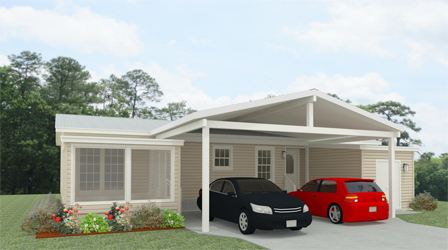 Rendering Two Bedroom with Den Double Carport