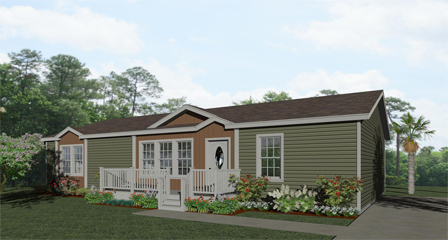 Exterior rendering Floor Plan IMP-45214W with two dormers