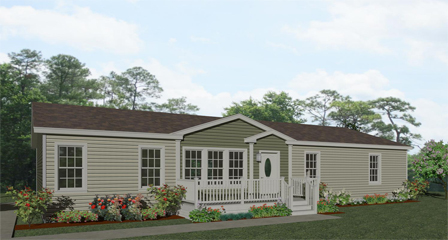 Exterior rendering Jacobsen Homes Floor Plan IMP-46023B with dormer and eyebrow