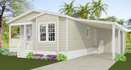 Rendering of the Jacobsen Home 6481B with front entry porch and carport
