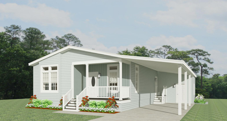 Rendering of a Jacobsen Home with Carport and Front Entry Porch