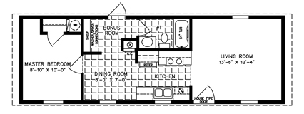 500 to 799 sq ft manufactured home floor plans jacobsen One bedroom one bath mobile home