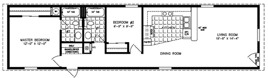 Manufactured Home Floor Plan: The Imperial • Model ISWW-1601  2 Bedrooms, 2 Baths