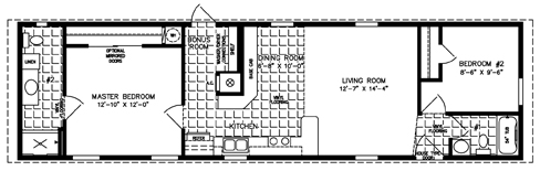 Manufactured Home Floor Plan: The Imperial Model ISWW-4563  2 Bedrooms, 2 Baths