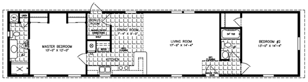 Manufactured Home Floor Plan: The Imperial • Model ISWW-4682  2 Bedrooms, 2 Baths