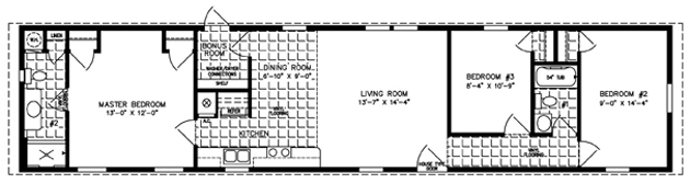 Manufactured Home Floor Plan: The Imperial • Model ISWW-4683  3 Bedrooms, 2 Baths