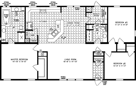 Three Bedroom Two Bath floor plan with split bedrooms