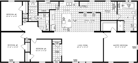 Four Bedroom Two Bath Floor Plan with an Open Kitchen