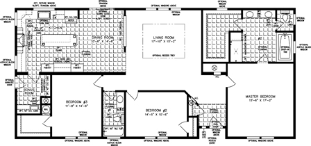 Three Bedroom Split floor plan