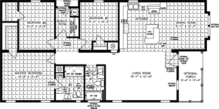 Three bedroom two bath floor plan