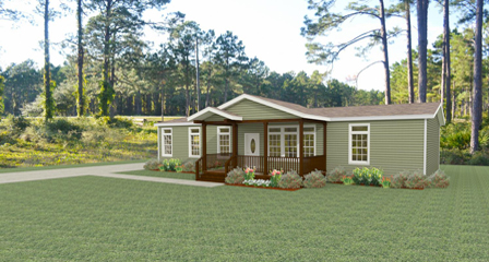 Exterior rendering Jacobsen Homes Floor Plan IMLT-46412B with a site built porch