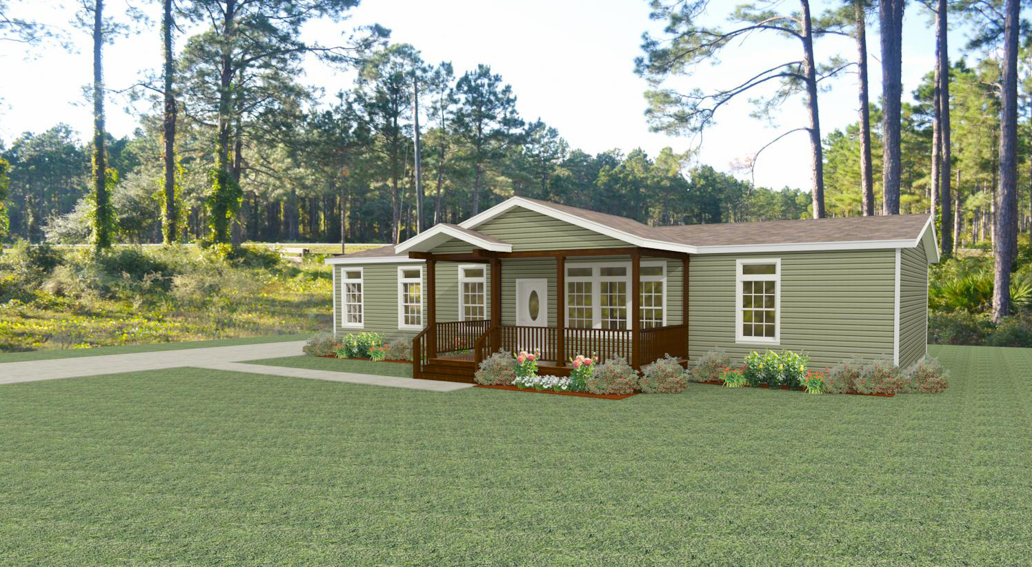 Exterior rendering Jacobsen Homes Floor Plan IMLT-46412B with porch