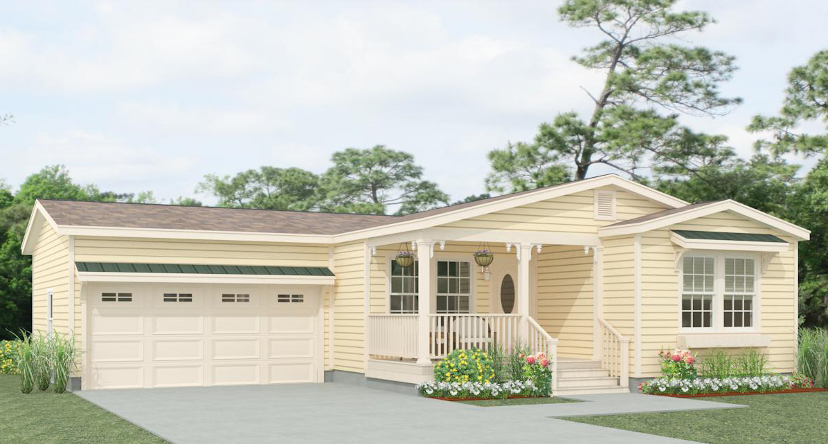 Exterior Jacobsen Homes manufactured home with optional garage and porch