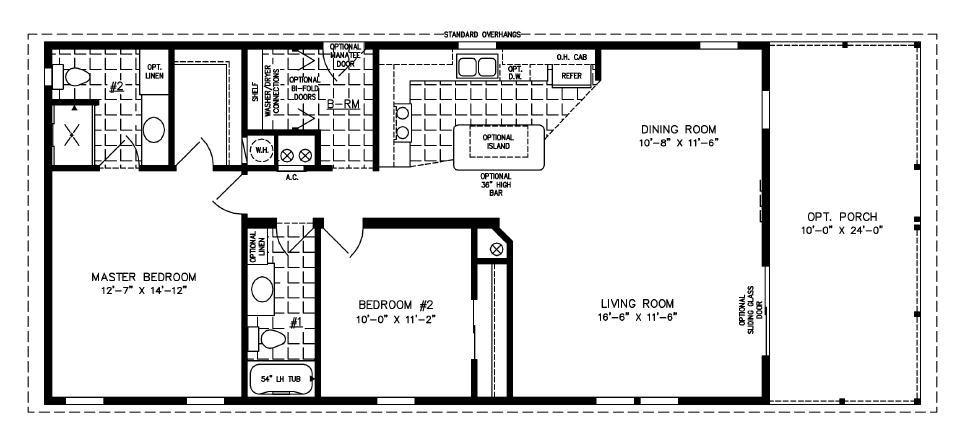Manufactured home Floor Plan: The T N R • Model TNR-2483A-974  2 Bedrooms, 2 Baths