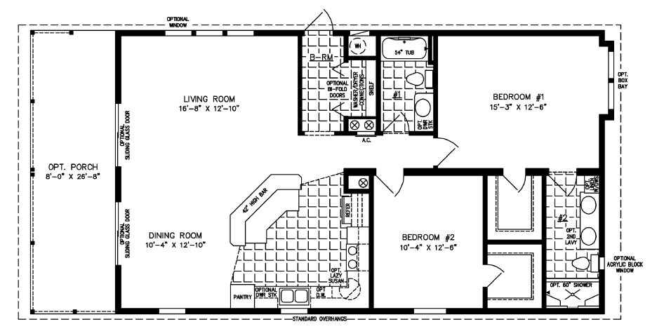 Manufactured Home Floor Plan: The Imperial • Model CP-2191-531  2 Bedrooms, 2 Baths