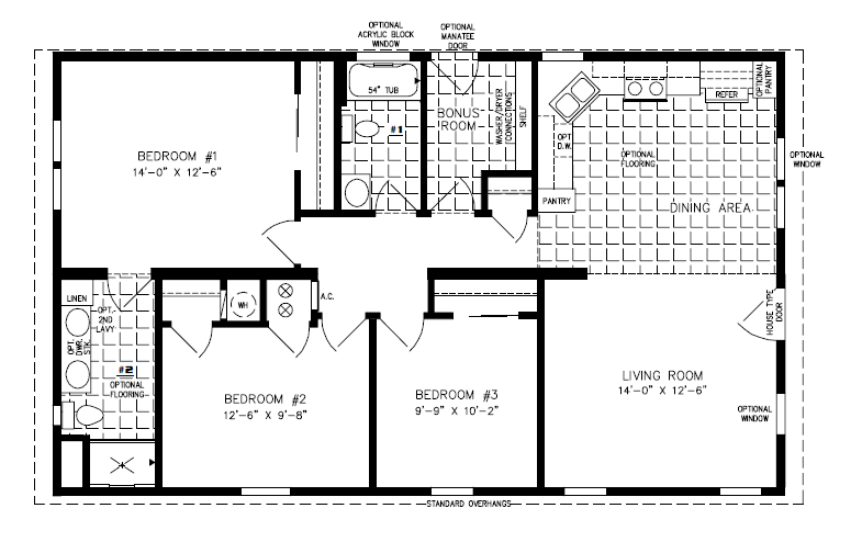 Manufactured Home Floor Plan: The Imperial • Model IMP-34410B  3 Bedrooms, 2 Baths
