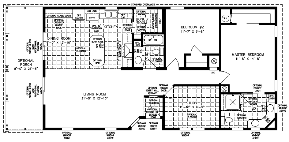 Two Bedroom Two Bath with a Study Open Floor Plan