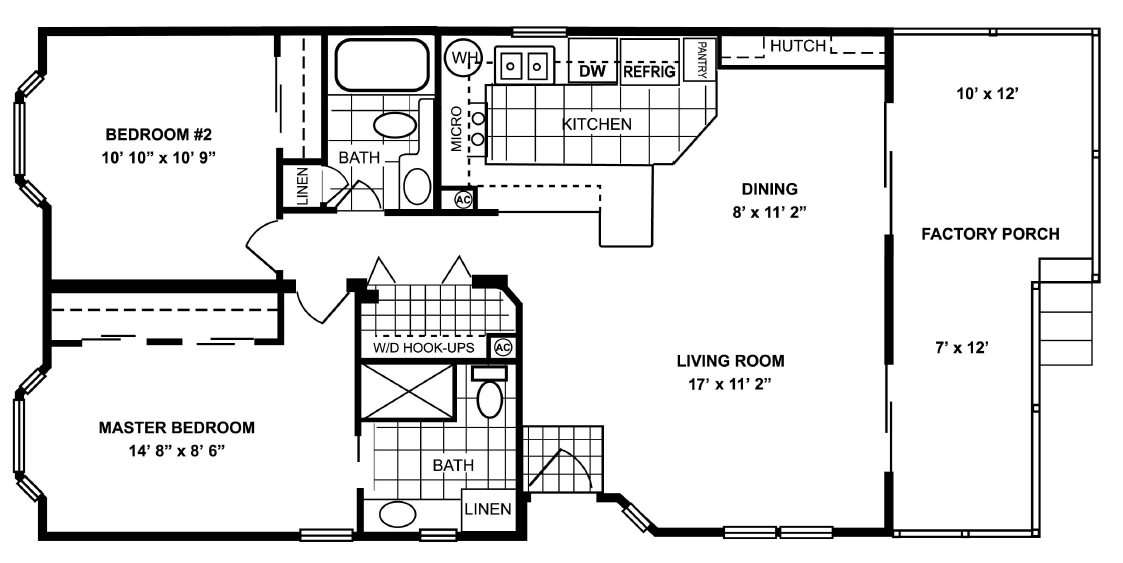 964 sq ft manufactured home floor plan
