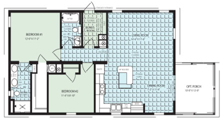Manufactured home Floor Plan: The Grove IMP-2421A Zephyr  2 Bedrooms, 2 Baths