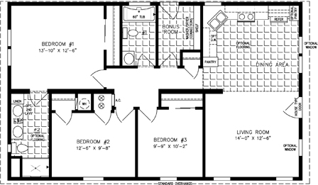 Manufactured Home Floor Plan: The Imperial | Model IMP-34410B  3 Bedrooms, 2 Baths