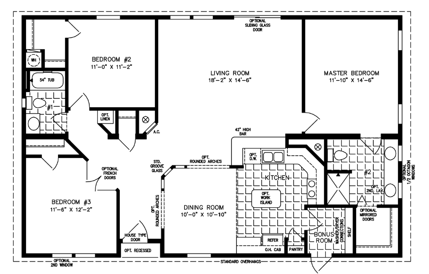 Three Bedroom Two Bath split Plan