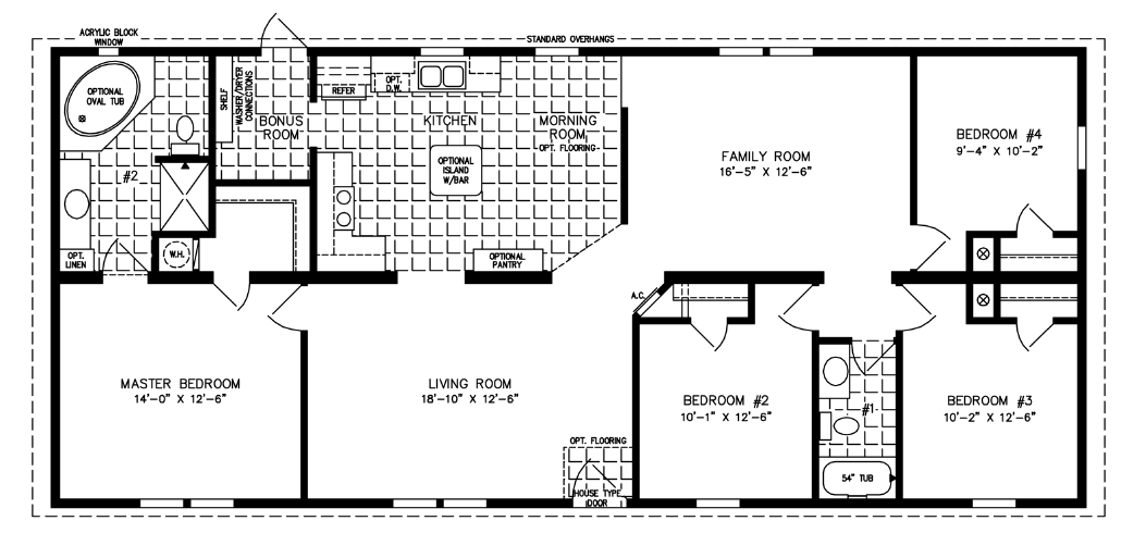 Great Manufactured Home Floor Plan: The Imperial U2022 Model IMP 46013B 4 Bedrooms,  ...