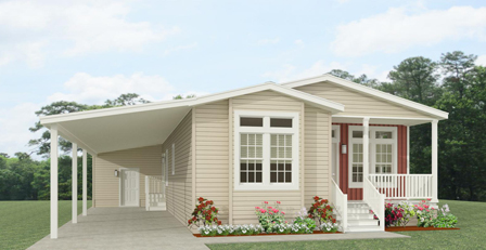 Rendering of a three Bedroom Jacobsen Home with a front entry porch and carport
