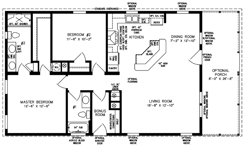 Two Bedroom Two Bath open plan