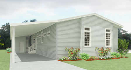 Rendering of a Jacobsen Home with rear view and carport