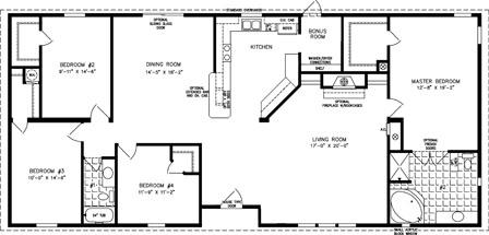 The tnr 46811w manufactured home floor plan jacobsen homes for Magnolia homes floor plans