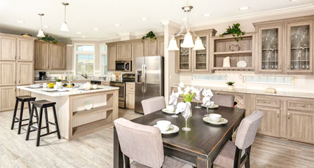 View of manufactured home open floor plan kitchen and dining room