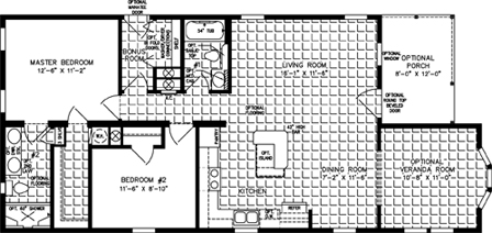 Two Bedroom Two Bath shown with optional veranda room and porch